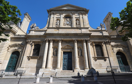 Beautiful view of university Sorbonne in Paris, France on a sunny day. Banque d'images