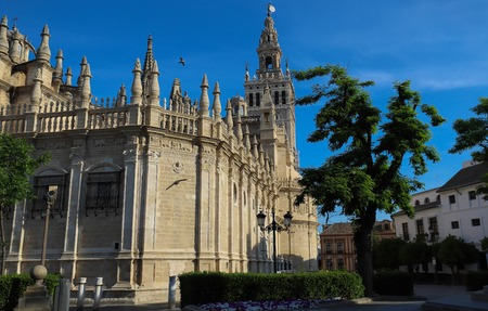 View of Seville Cathedral with the Giralda in the background Stock Photo
