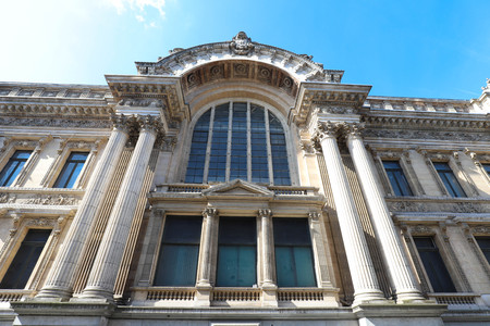Facade of the Bourse palace building in Brussels , Belgium