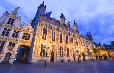 Bruges City Hall on Burg Square. Bruges, Flemish Region, Belgium. Imagens