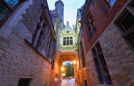 Beautifull Arch between Old Civil Registry and Town Hall, Bruges, Belgium.