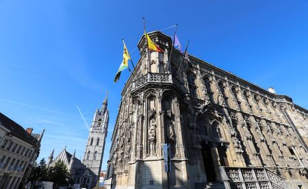 Amazing medieval building of City Hall in Ghent, Belgium. It is one of the most popular spot in the city.