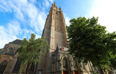 Medieval Church of Our Lady in Bruges in sunny day, Belgium Imagens