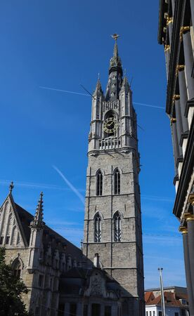 Grand Belfry of Ghent ,late 14th century, 91m tower - symbol of the city Ghent , Belgium.