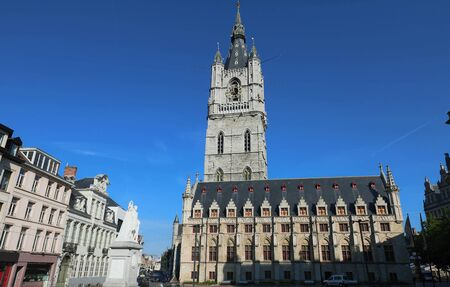 The belfry of Ghent an old medieval tower in the old city centre of Ghent, Belgium. Stock Photo