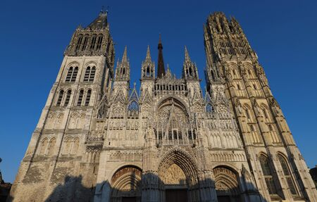Rouen Cathedral is a Roman Catholic Church in Rouen, Normandy. The cathedral is in the Gothic architectural tradition. Фото со стока