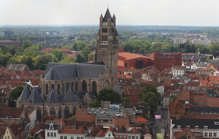 Aerial view of Saint Salvator Cathedral, Old Town of Bruges, Belgium