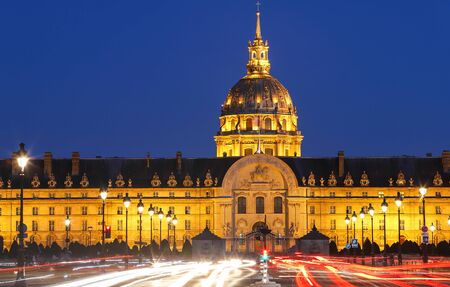 The cathedral of Saint Louis at night, Paris. Фото со стока