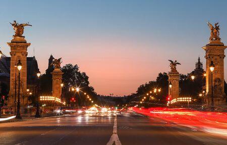 The famous Alexandre III bridge at sunset, Paris, France