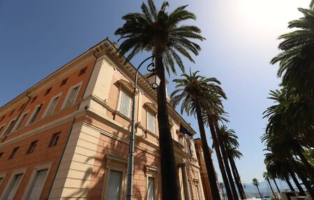 The city hall of Ajaccio framed by palm fronds, Corsica island, France. Stock fotó