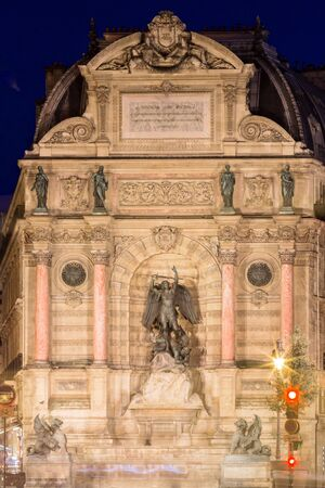 Fountain Saint-Michel at Place Saint-Michel in Paris, France. It was constructed in 1858-1860 . Banque d'images