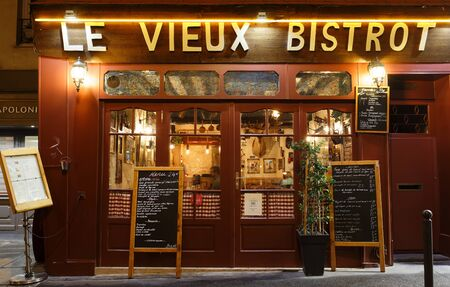 Vieux bistrot is famous traditional French caf located near Pantheon in Paris, France. Editorial