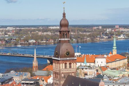 The view from the Saint Peter cathedral on the center of Riga. 版權商用圖片 - 134808204