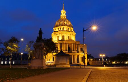 The cathedral of Saint Louis at night, Paris.