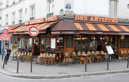 The traditional French cafe Au rendez vous des artists located in the Montmartre, Paris, France.