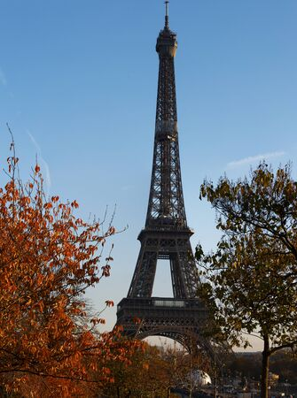Beautiful view of autumn trees with the Eiffel tower in the foreground in Paris. 版權商用圖片