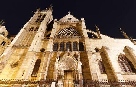 The Saint Severin gothic church in night, Paris.