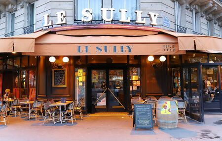 The traditional French cafe Le Sully is a familial brasserie since 1917 located at boulevard Henri IV in 4th arrondissement of Paris.