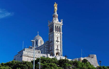 The historic basilica Notre Dame de la Garde of Marseille in South France .