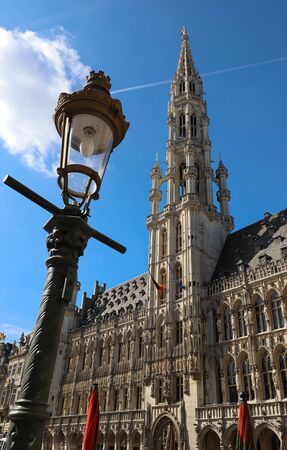 The Town Hall of the City of Brussels is a Gothic building from the Middle Ages. 版權商用圖片