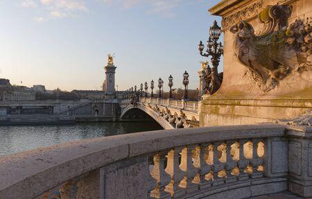 The famous Alexandre III bridge in Paris, France 版權商用圖片