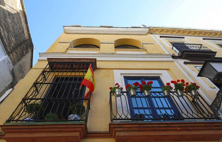 Facade of traditional spanish house. Seville, Andalusia, Spain, Western Europe. Standard-Bild - 140250914
