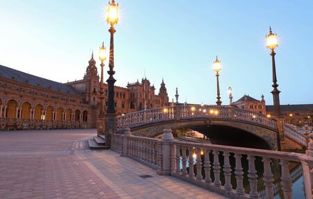 Spain Square-Plaza de Espana is in the Public Maria Luisa Park, in Seville, Spain.