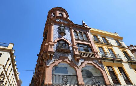 Facade of traditional spanish house. Seville, Andalusia, Spain, Western Europe. 版權商用圖片