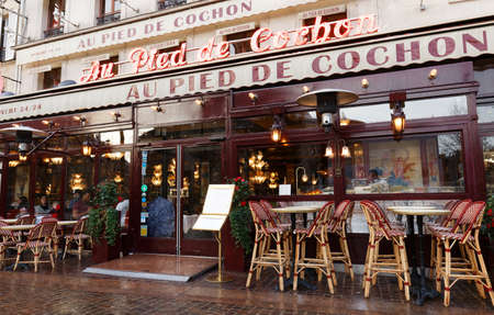 Paris France-March 01 , 2020 : The famous restaurant Au pied du cochon located in Les Halles district of Paris. Its neon's lights haven't switched off since 1947.