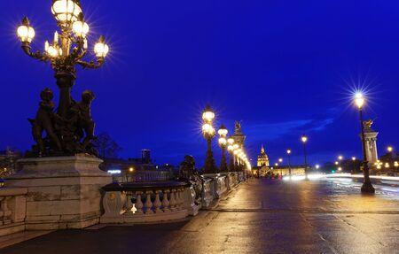 The famous Alexandre III bridge at night, Paris, France