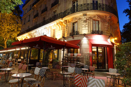 PARIS - June 29 , 2020 : The traditional French cafe located at Bastille square , Paris, France . 報道画像