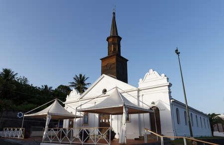 Saint Thomas church at night , Diamant city, Martinique island.