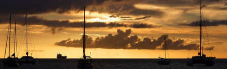 The panoramic view of sunset on Martinique island, French West Indies.