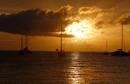 The sunset on Martinique island, French West Indies.