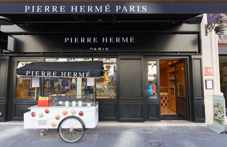 Exterior view of pastry shop of French famous pastry chef Pierre Herme in central Paris on Opera avenue.