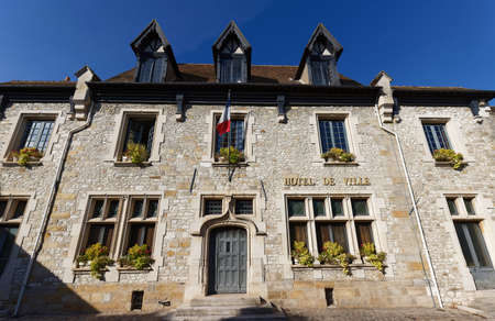 Moret-sur-Loing Town Hall . It is historic town near Fontainebleau on the Loing river , France.