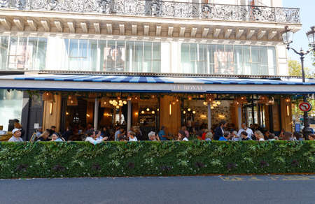 The traditional French Cafe Le Royal located on the famous Saint Honore street in Paris. France.