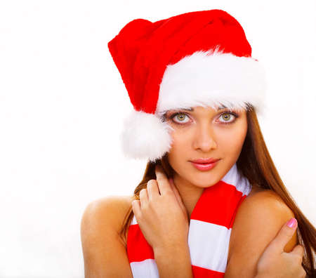 elation: Beautiful hot sexy woman in Santa. Christmas Woman Series
