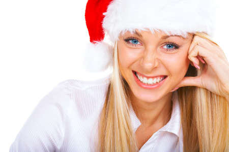 Attractive blonde femme souriante � Santa Cap  Banque d'images