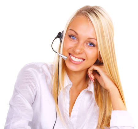 The girl the operator in headphones with a microphone Stock Photo - 721488