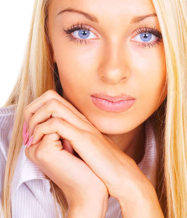 Portrait of the blonde with blue eyes Stock Photo