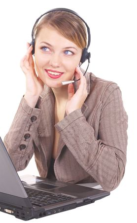 girl the operator in headphones with a microphone Stock Photo - 814835