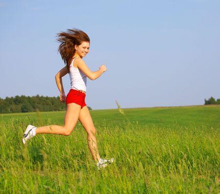 The girl runs Stok Fotoğraf