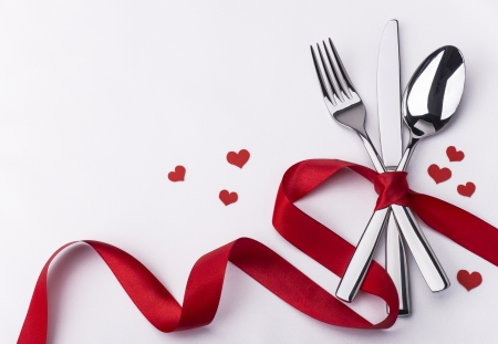 Valenitines day set with silverware photo