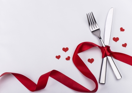 Valentines day silverware set Stock Photo
