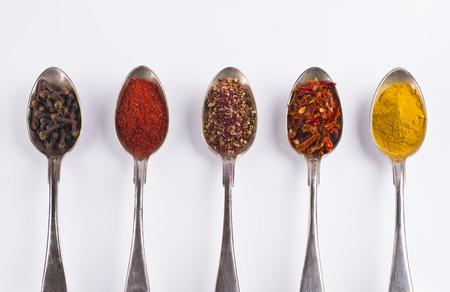 cloves, tandoori masala, turkish salad mix, sweet red pepper, curcuma tumeric,  Stock Photo