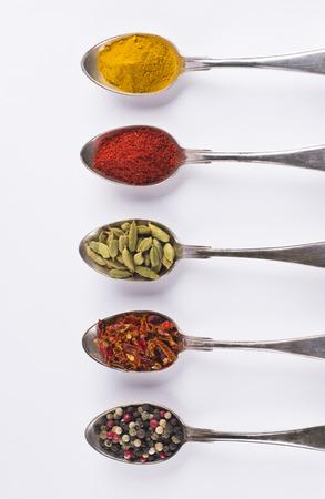 curcuma tumeric, tandoori masala, cardamom, sweet red pepper, mixed peppers Stock Photo