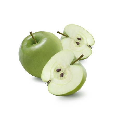 grannies: One whole green Granny Smith apple and two halves isolated on white background for package design