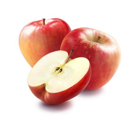 꿀 경색 빨간 사과 반은 패키지 디자인에 대 한 흰색 배경에 고립 스톡 콘텐츠