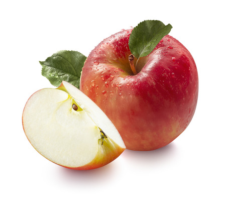 Red wet honeycrisp apple and quarter isolated on white background for package design Stok Fotoğraf